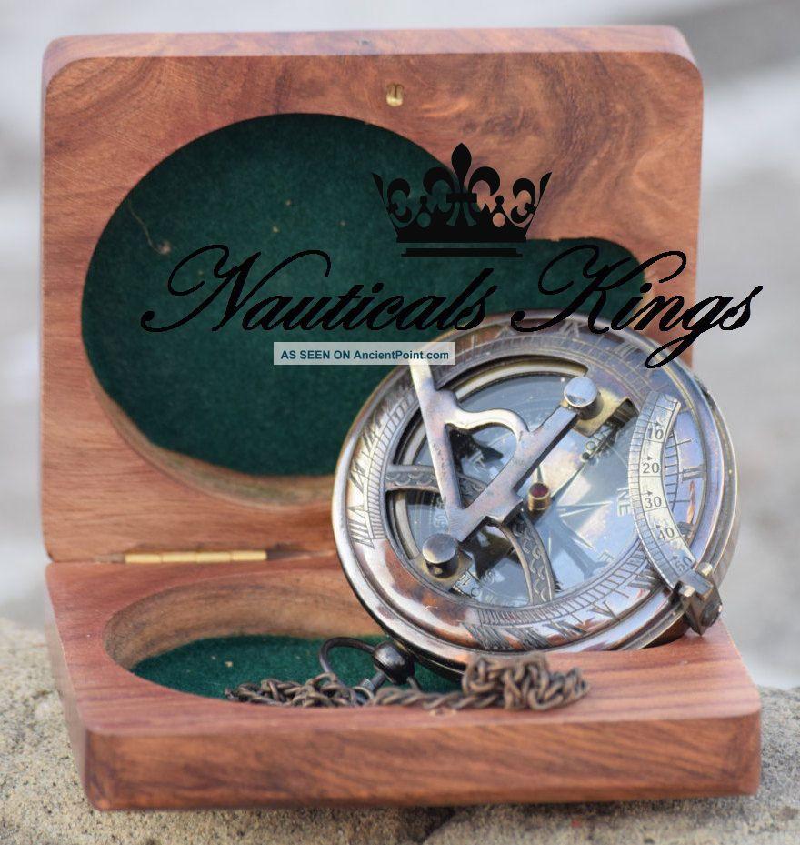 Vintage Push West London Antique Brass Sundial Compass Nautical Gift Compasses photo