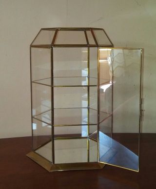 Vtg Brass Glass Mirror Curio Display Case For Miniatures 1970s photo