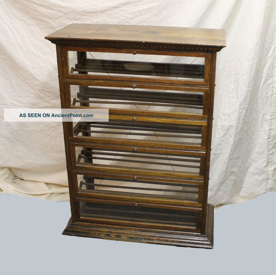 - Antique Oak Country Store Display Ribbon Cabinet