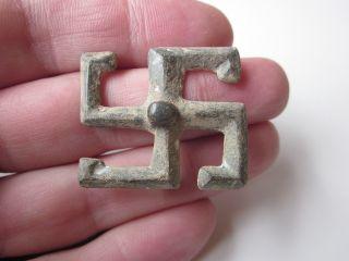 Roman Style Lead Fibula Swastika photo