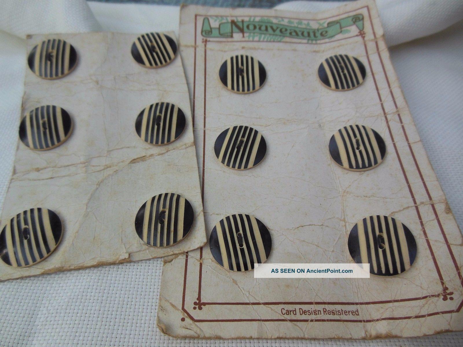 Antique 1920 ' S Art Deco 12 Black Cream Carved Stripe Nouveaute Buttons Buttons photo