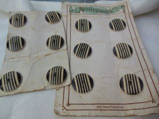 Antique 1920 ' S Art Deco 12 Black Cream Carved Stripe Nouveaute Buttons photo
