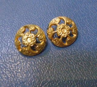 2 Antique Gold Gilt Openwork Floral Design Button photo