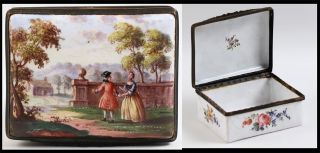 Rare C1700s English Battersea Enamel Painted Decorative Scene Snuff Box 18th C. photo