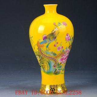 Chinese Porcelain Handwork Painted Phoenix Vase Cqcq20 photo