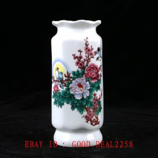 Old Chinese Porcelain Handwork Painted Flowers & Birds Vase W Qianlong Mark photo
