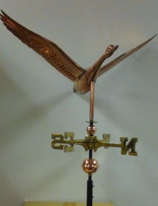 Copper Flying Goose Medium Size Weathervane,  /3/4  Cupola Mounting Rod photo