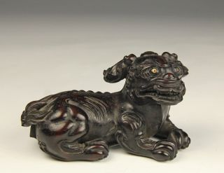 Antique Old Chinese Carved Hardwood Statue Of Recumbent Dog photo