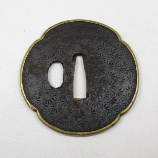 E222: Real Old Japanese Samurai Iron Mokko Shape Sword Guard Tsuba With Fukurin photo