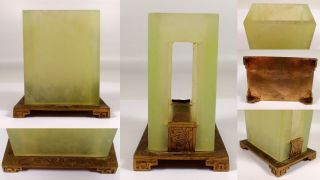 Antique Vtg Chinese Jade Stone Etched Brass Footed Matchbox Holder Stand photo