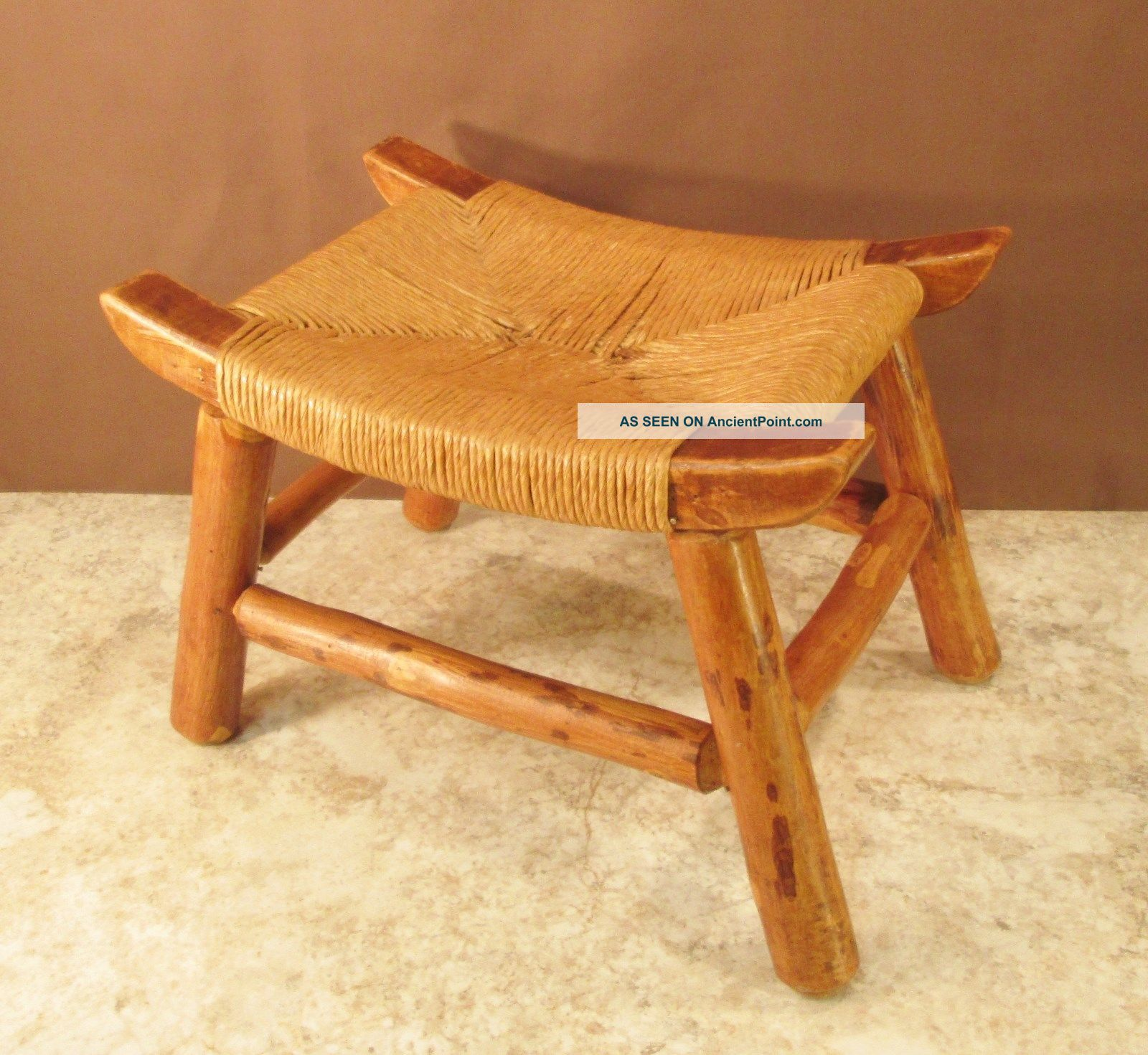 Vtg Heavy Frame Natural Wood Stool Twisted Reed Wicker Weaved Caned Curved Seat 1900-1950 photo