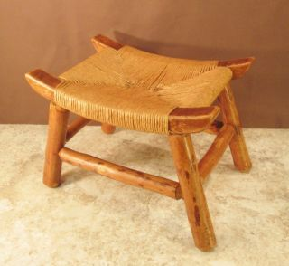 Vtg Heavy Frame Natural Wood Stool Twisted Reed Wicker Weaved Caned Curved Seat photo