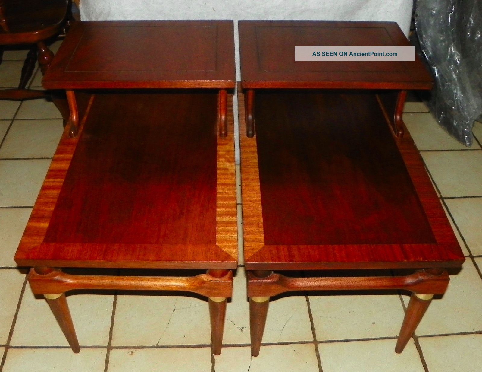 Mid Century Mahogany Step End Tables / Side Tables By Lane (t328) Post-1950 photo