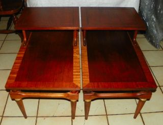 Mid Century Mahogany Step End Tables / Side Tables By Lane (t328) photo