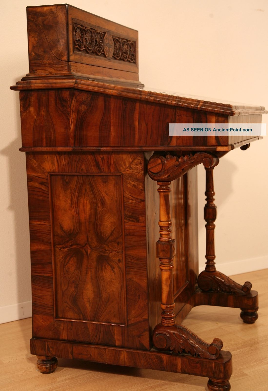Antique Carved Olive - Wood Quill Pen Writing Desk,  From Jerusalem,  Aprox.  1800 ' S 1800-1899 photo