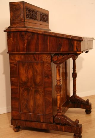 Antique Carved Olive - Wood Quill Pen Writing Desk,  From Jerusalem,  Aprox.  1800 ' S photo
