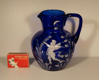 C.  1895 Antique Bristol Blue Mary Gregory Angel Decoration Glass Jug Pontil Mark. photo