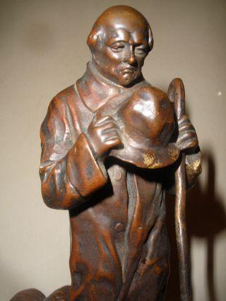 Antique Paul Schmidt - Felling German (1835 - 1920) Bronze Sculpture Shepherd Sheep photo