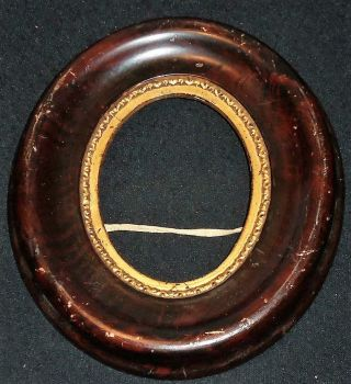 Vintage 1800 ' S Wood 1/4 Sized Oval Frame photo