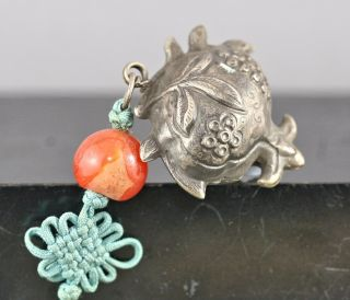 Antique Authentic Chinese Solid Silver Toggle Agate Bead Circa 1800s photo