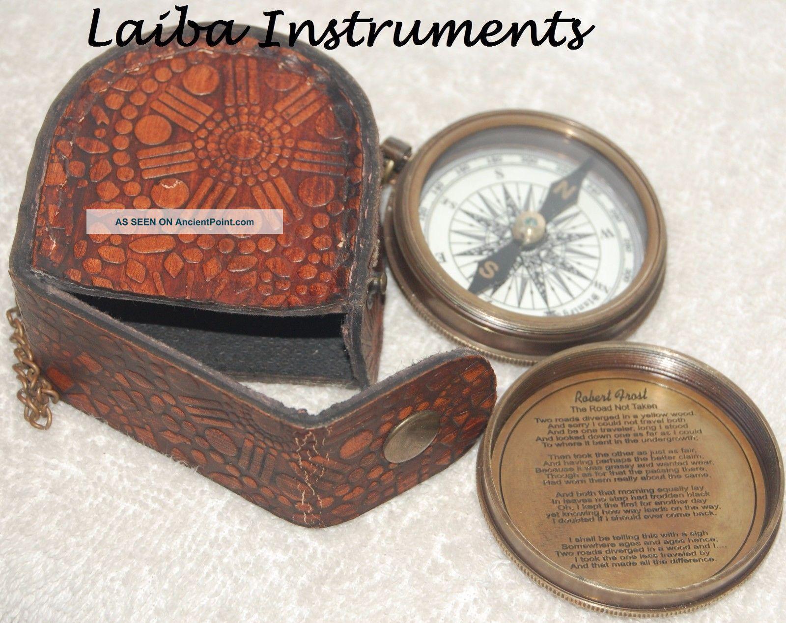 Antique Brass Compass Vintage Robert Frost Poem Compass Nautical W/leather Case@ Compasses photo