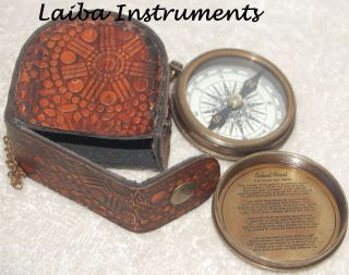 Antique Brass Compass Vintage Robert Frost Poem Compass Nautical W/leather Case@ photo