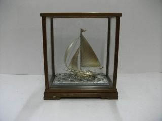 The Sailboat Of Silver Of The Most Wonderful Japan.  80g/ 2.  82.  Japanese Antique photo