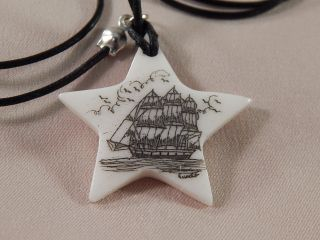 Scrimshaw Bovine Bone Pendant Star Shaped Side Ship photo