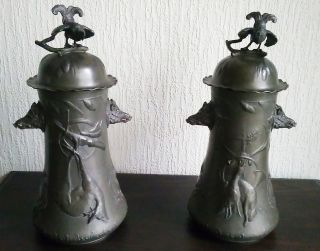 Kayserzinn Art Nouveau Pewter Figural Hunting Vases With Lid - End 19th Century photo