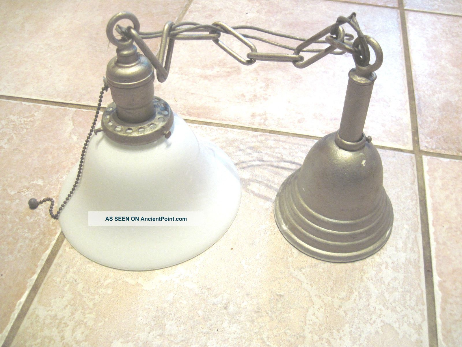 One 1920 ' S Vintage Brass One/single Light Ceiling White Glass Shade Chandeliers, Fixtures, Sconces photo