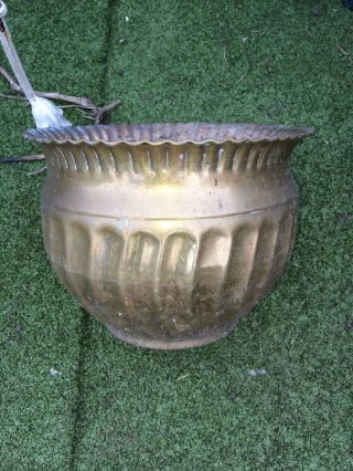 Large Antique Brass Plant Pot Planter 8