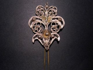 Pompous Antique 18th - 19th Century Silver Plated Filigree Jewelry Pin photo