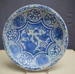 17th Century Dutch Majolica Plate Whit A China Decor With A Bird. photo
