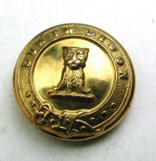 Antique Brass Livery Button - Wild Cat Head Image - Firmin - 5/8