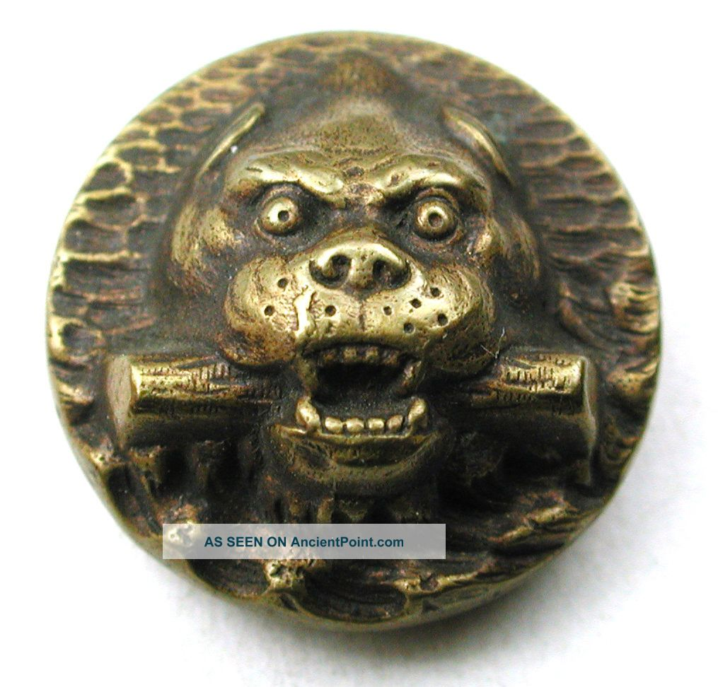 Antique Brass Button Bull Dog W/ Stick Design - Paris Back - 11/16