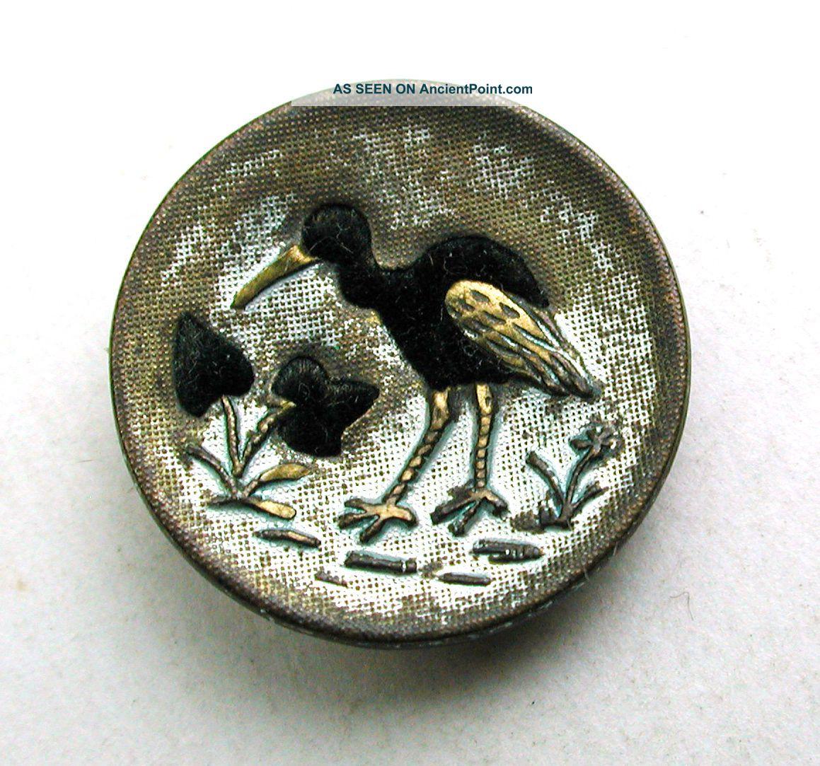Antique Button Brass Crane W/ Velvet Liner - 9/16