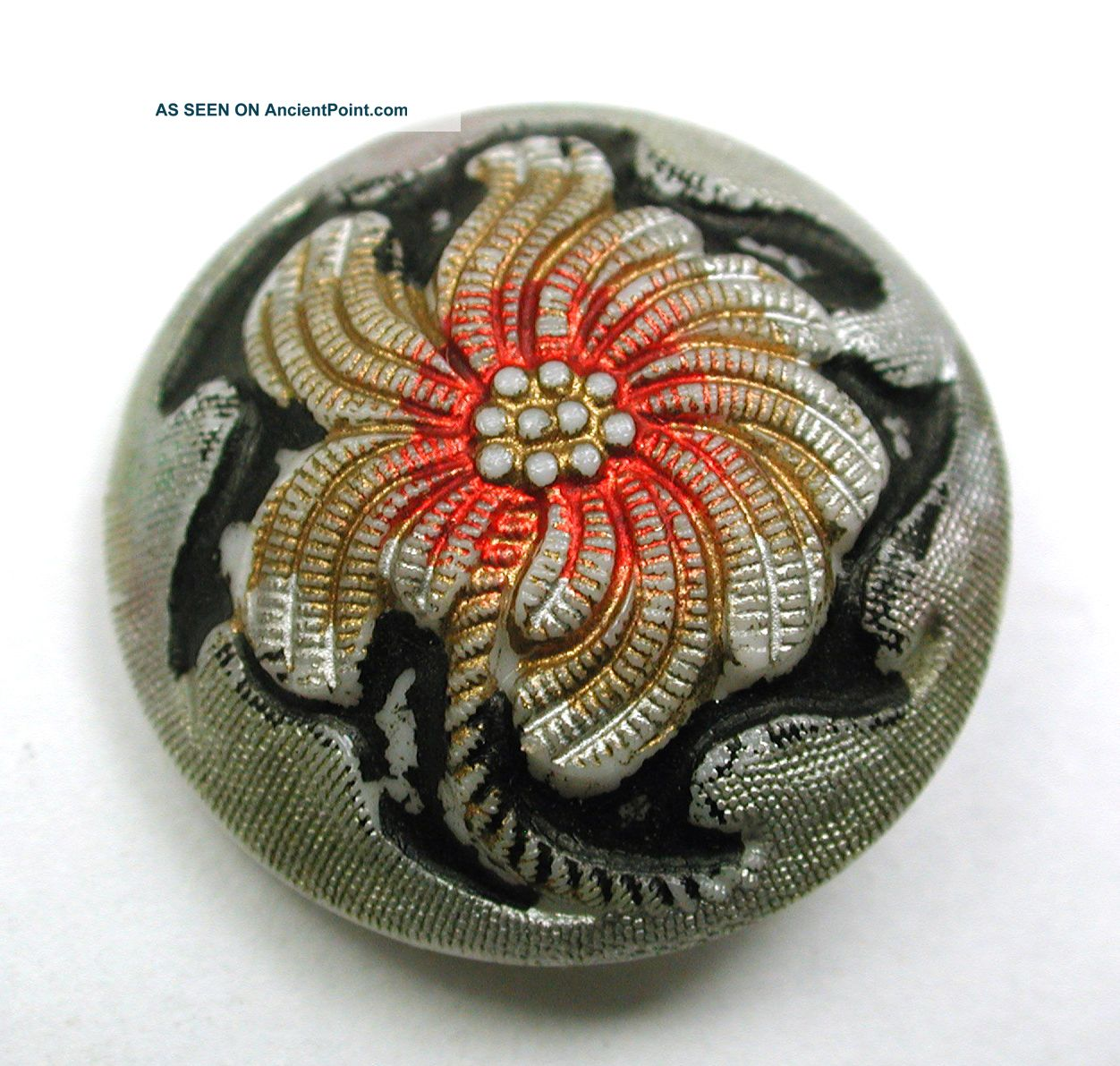 Antique Victorian Glass Button Flower W/ Colorful Paint & Gold Luster - 7/8 ' Buttons photo