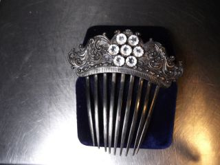 Antique Victorian Silver Plate Hair Comb W/large White Cut Glass Rhinestones photo