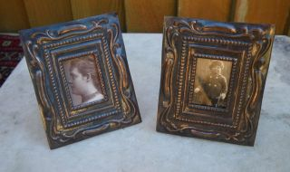 Pr.  Antique Embossed Art Nouveau Decoration Copperized Metal Photograph Frames photo