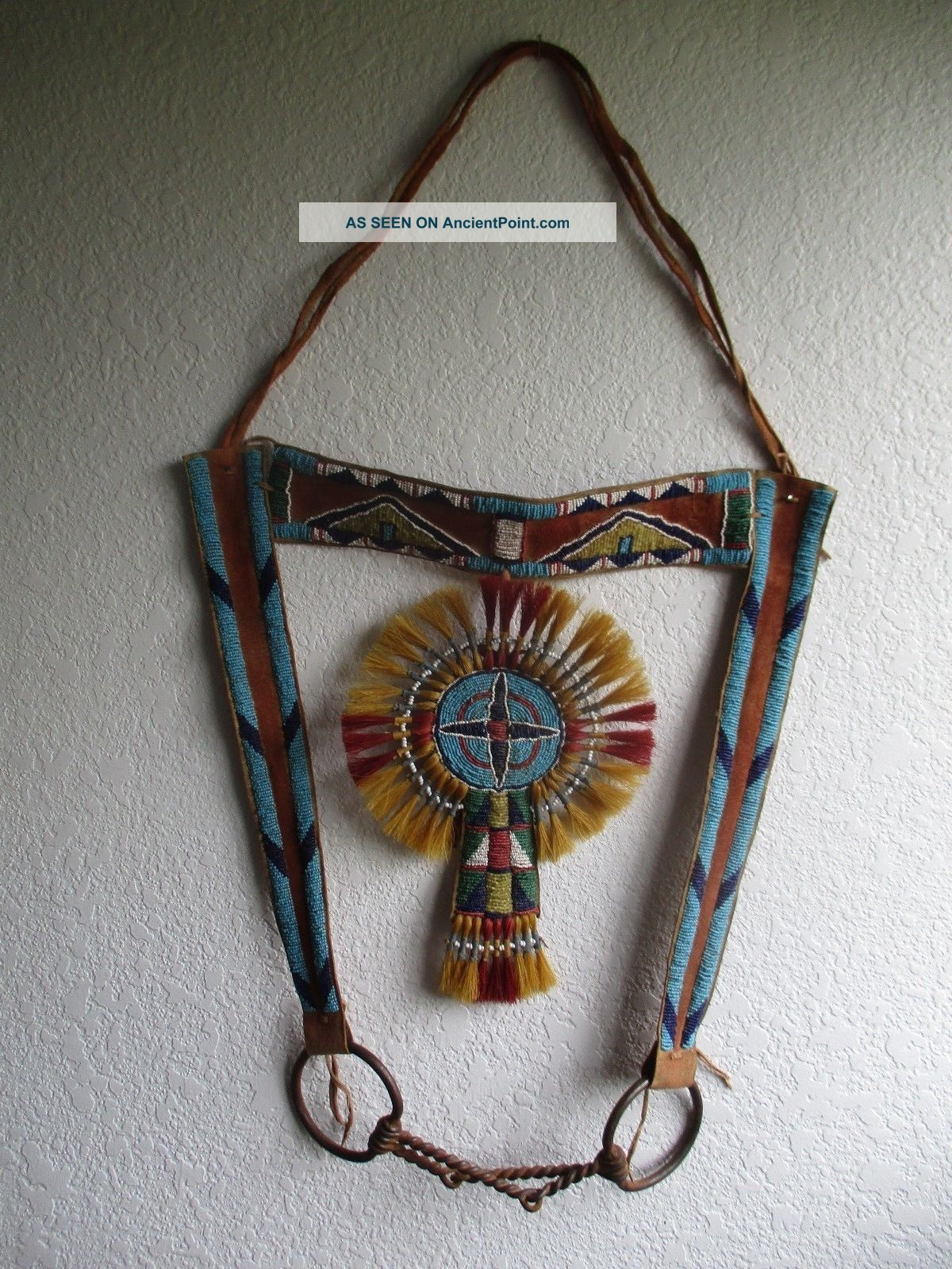 Antique Crow Beaded Headstall With Iron Bit Native American photo