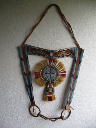 Antique Crow Beaded Headstall With Iron Bit photo