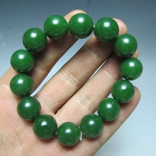 100 Natural Green Hetian Jade Hand - Carved Beads Bracelet photo