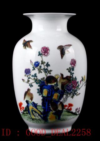 Chinese Porcelain Hand - Painted Magpie Vase W Qianlong Mark Cqgt22 photo