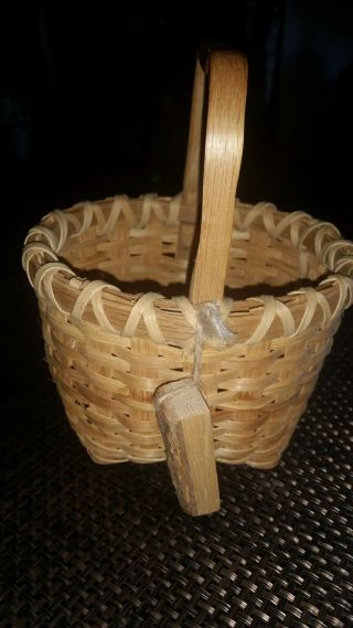 Handmade Split Oak Basket From Virginia Signed S.  Rembish photo