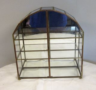 Vintage Brass Glass Table Top Wall Curio Cabinet Display Case With Mirror Latch photo