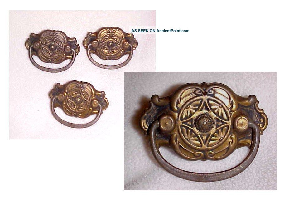 Antique Arts Crafts - Eastlake Drawer Pulls 3pc Ornate Brass Solid Usable Usa Drawer Pulls photo