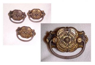 Antique Arts Crafts - Eastlake Drawer Pulls 3pc Ornate Brass Solid Usable Usa photo