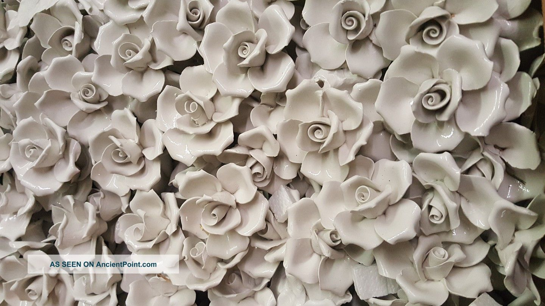 20 White Porcelain Vintage Roses Italy Chandelier Sconces Crafts Chandeliers, Fixtures, Sconces photo
