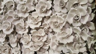 20 White Porcelain Vintage Roses Italy Chandelier Sconces Crafts photo