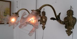 Vintage French Sconces Chandelier Light Fixture Antique Shabby Chic Rose Angel photo